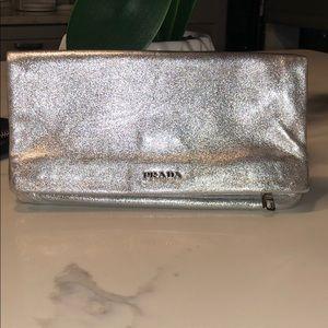 Prada silver leather clutch